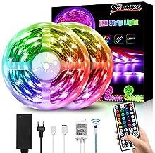 LED strip 10M, SOLMORE RGB Led lichtstrip IP65 waterdichte 300LEDs SMD5050 LED-strip met afstandsbediening en voeding met ...