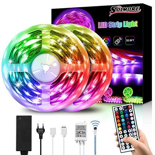 10M Tira LED RGB 5050, SOLMORE Flexible Multicolor 300 LEDs Strip Tiras LED de Luces LED Kit Completo para Hogar, Restaurante, Cocina, Porche, Oficina, Dormitorio Incluyendo Adaptador…