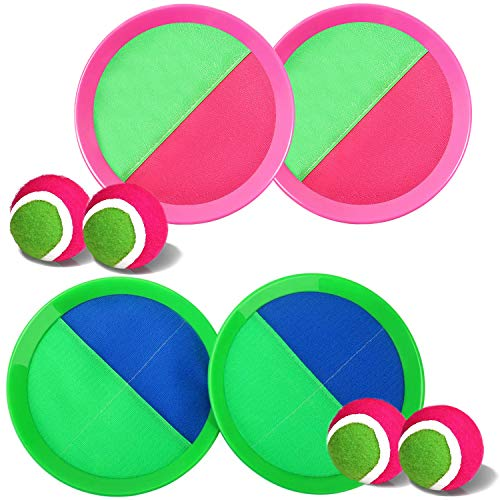 Jalunth Ball Catch Set Game Paddle - Beach Toys Back Yard Outdoor Games Lawn Backyard Throw Catch Sticky Toss Age 3 4 5 6 7 8 9 10 11 12 Years Old Boys Girls Kids Adults Family Outside Easter Gifts
