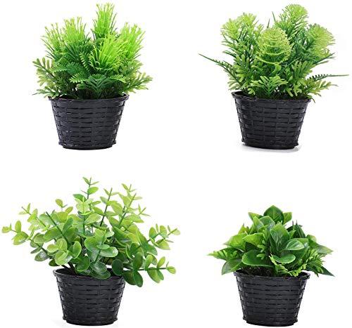 quancheng 4 plantas artificiales, mini plantas artificiales, plantas artificiales reales, pequeñas con maceta, hogar, escritorio, cocina, baño, jardín, balcón, salón, dormitorio