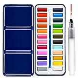 ZITFRI 24 Couleurs Set de Peinture Aquarelle pour Les Amateurs et Les Artistes Professionnels