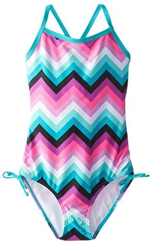 Kanu Surf Girls' Layla Beach Sport Banded 1 Piece Swimsuit, Olivia Pink Chevron/Aqua, 12
