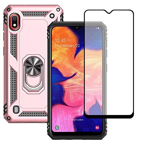 Yiakeng Funda Samsung Galaxy A10 New Edition Carcasa con Protector Pantalla Cristal Templado, Silicona Armor Case con Kickstand para Samsung Galaxy A10 (Oro Rosa)