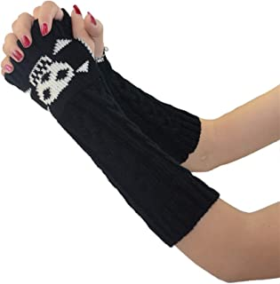 Colorful House Women Skeleton Long Stretchy Fingerless Gloves Arm Warmers for Halloween Cosplay