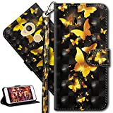 HMTECH Sony Xperia L2 Hülle 3D Gold Schmetterling Blumen