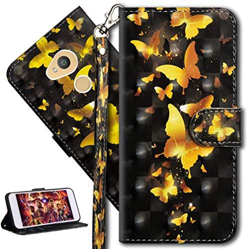 HMTECH Sony Xperia L2 Hülle Luxus 3D Gold Schmetterling Blumen Flip Standfunktion Karten Slot Magnetverschluß Brieftasche Taschen Schalen Handy Ledercase für Sony Xperia L2,Gold Butterflies