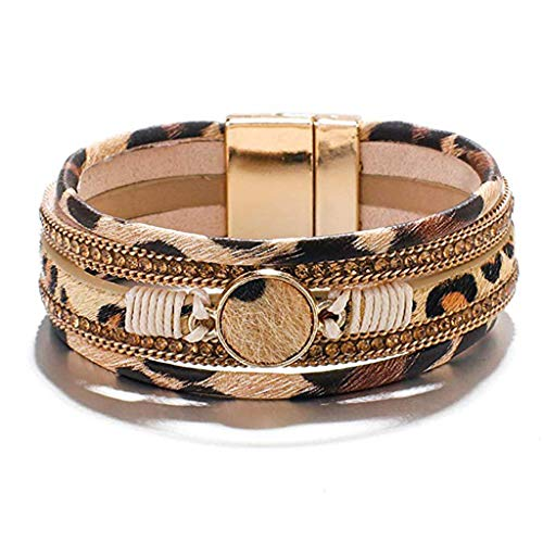 njuyd Popular Bracelet Leopard Wrap Bracelets for Women Multilayer Wide Animal Cheetah Print Wristband Cuff Bangle with Magnetic Buckle Jewelry