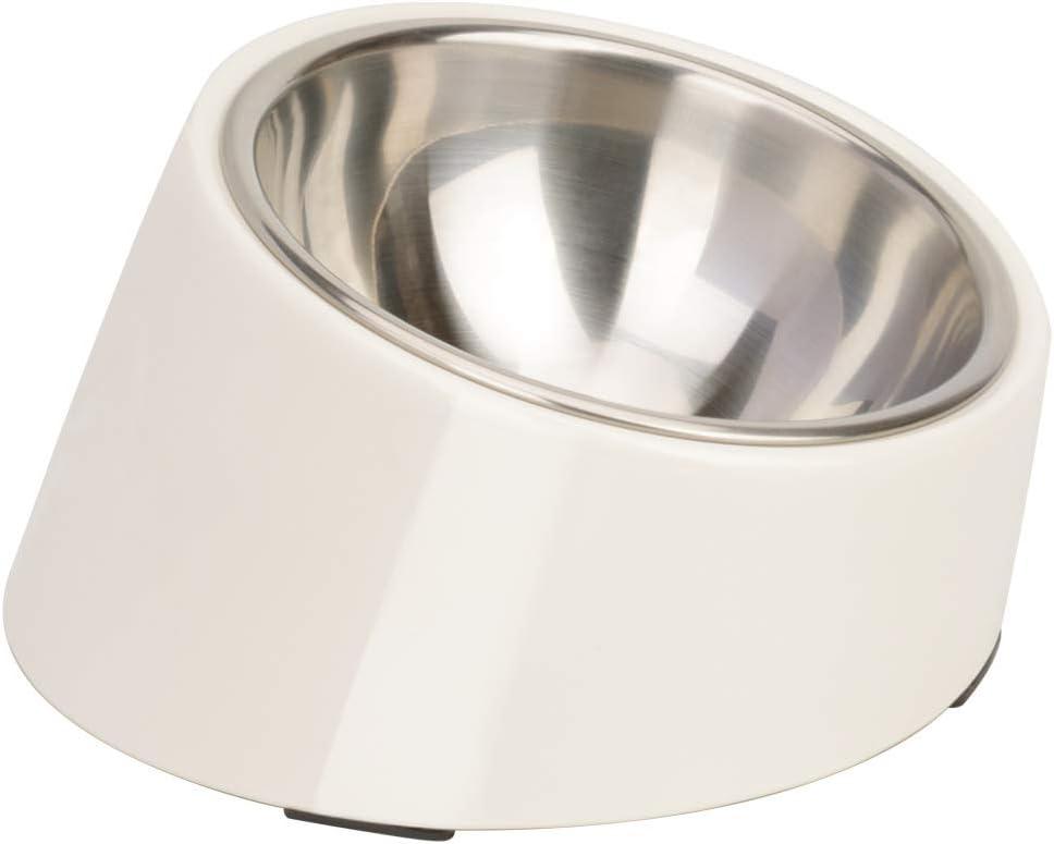 Superdesign Comedero para Perro, Inclinado Comedero Gato Poco Profundo con Cuenco INOX de inclinación 15 °,Base Antideslizante