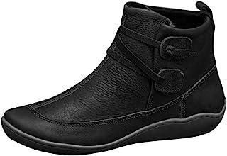 المرأة خمر قصيرة الأحذية الكاحل ، السيدات الصلبة أزياء مشبك الشتاء جولة تو الأحذية الجلد الصناعي مسطح