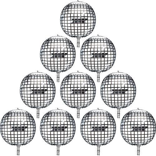 Globos de Papel de Aluminio Globos de Helio Mylar 10 Piezas 22 Pulgadas 4D Globos Metálicos de Espejo Grande de Plata para Discoteca Fiesta de Baile Fiesta de Cumpleaños Boda Bautizo
