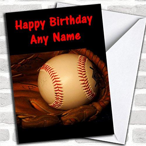 Honkbal bal & handschoen aangepaste verjaardag groeten kaart- verjaardagskaarten/sport, hobby's & interesses kaarten