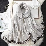 Écharpe Écharpe d'hiver Femmes Châles en Coton Foulard Hijab Écharpes Léopard Froissé Foulard Bandana Chaud Femmes Étoles 180X90 Cm Wj119-Beige