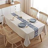 ZWOOS Mantel Antimanchas 140x200cm, Mantel Mesa Rectangular, Mantel para Mesa de Cocina o Salón PVC Mantel Hules para Mesas Impermeable Lavable Manteles Plastico para Interiores y Exteriores (B)