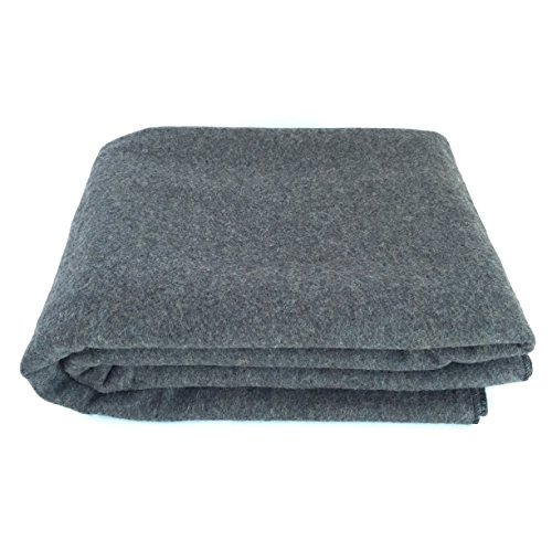 EKTOS 90% Wool Blanket, Grey, Warm & Heavy 4.4 lbs, Large Washable...