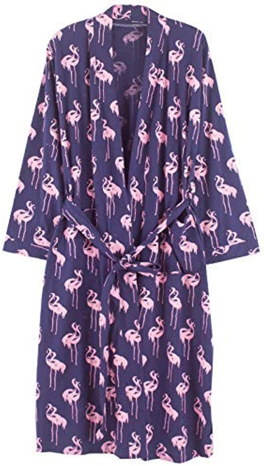 DALAI Nightgown Female Autumn Cotton LongSleeved Long Bathrobes Hotel Beauty Salon with Bathrobes Autumn and Winter Home Service (color   Purple, Size   L) (color   Purple, Size   Large)