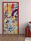 Türtapete Selbstklebend Graffiti Dame Kunst 62x200cm Türfolie 82-A-V