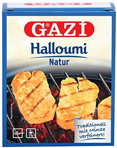 Gazi Halloumi Natur - 1x 250g - Pfannenkäse Pfanne Grillkäse Grill Ofenkäse Halloumikäse Ofen 43% Fett verfeinert mit Minze Schnittkäse Käse mikrobielles Lab Halal vegetarisch glutenfrei