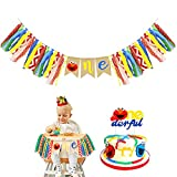 Elmo Themed Kids First Birthday Highchair Banner Birthday Hat Cake Topper Elmo 1st Birthday Decorations Kit for Seasame Street Party 1st Birthday Decorations Supplies (elmo)