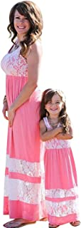 BYM Mommy Daughter Outfits Summer Sleeveless Striped Casual Print Tank Maxi Long Dress
