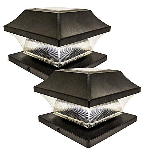 Sogrand Solar Post Cap Lights Outdoor Super Bright 20 Lumen Deck Lights 2Pack 4 Adaptors 4x4 5x5 6x6 3.5x3.5 Black Fence Light Post Lamp Waterproof Warm White LED Caps Lantern for Yard Porch Dock