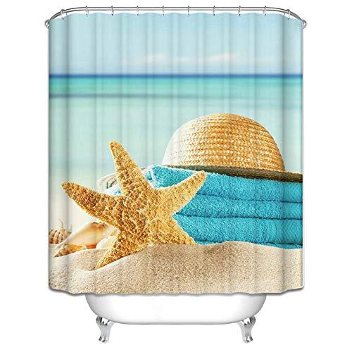 Ukilook Cortina de ducha con ganchos para baño, sombrero y estrella de mar, fácil de cuidar, cortina de ducha impresa, tela de poliéster resistente al moho, cortina de baño, decoración de baño