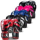 LNX Boxhandschuhe Performance Pro 10 12 14 16 Oz - ideal für Kickboxen Boxen Muay Thai MMA Kampfsport UVM schwarz/weiß (003) 16 Oz