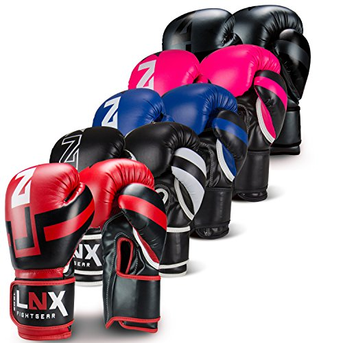LNX Boxhandschuhe Performance Pro 10 12 14 16 Oz - ideal für Kickboxen Boxen Muay Thai MMA Kampfsport UVM schwarz/weiß (003) 14 Oz