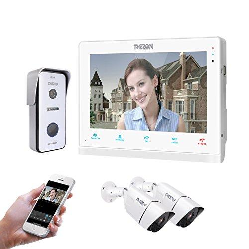 TMZON 10 Pulgadas de Pantalla táctil inalámbrico/con conexión de Cable de IP por Internet IP teléfono Timbre intercomunicador Sistema de Entrada con Timbre 1x con cámara HD 720P + cámara 2x960