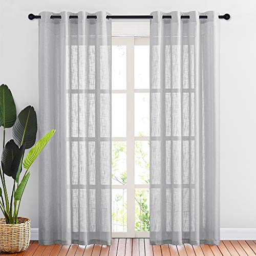 """NICETOWN Linen Textured Sheer Curtains - Grommet Natural Country Style Voile Curtain Panels 84 Inches Long for Living Room/Bedroom (Light Gray, 1 Panel = 52"""" W, 1 Pair)"""
