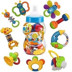 fiouni Juguetes de mordedor para bebé sonajero Conjunto Primeros sonajeros para bebé Conjunto de Regalo para bebé bebés Primer bebé 9 Piezas (Azul)