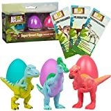 SCS Direct Animal Planet Super Grow Dinosaur Eggs 3 Pack - Dino Egg Toys Hatch and Grow to 3X Size in Water - Velociraptor, Pachycephalosaurus, & Corythosaurus w Educational Fact Cards