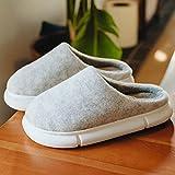 Hombre Zapatillas de casa Espuma de Memoria,Zapatillas de algodón de invierno estilo japonés pareja de suela gruesa,zapatos de hombre de suela suave cálidos para el hogar interior-Beige_34EU-35EU
