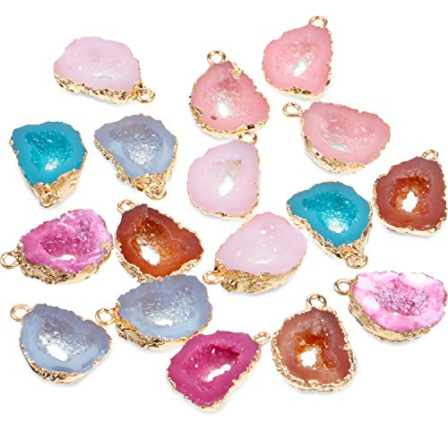 24 Pieces Resin Pendants Beads Charms Pendants Ore-Shaped Pendants Hollowed Beads Pendants Jewelry Findings for Girls Women DIY Necklace Jewelry Making