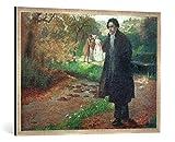 Gerahmtes Bild von Rudolf A. Höger Beethoven im Park, Kunstdruck im hochwertigen handgefertigten Bilder-Rahmen, 100x70 cm, Silber Raya