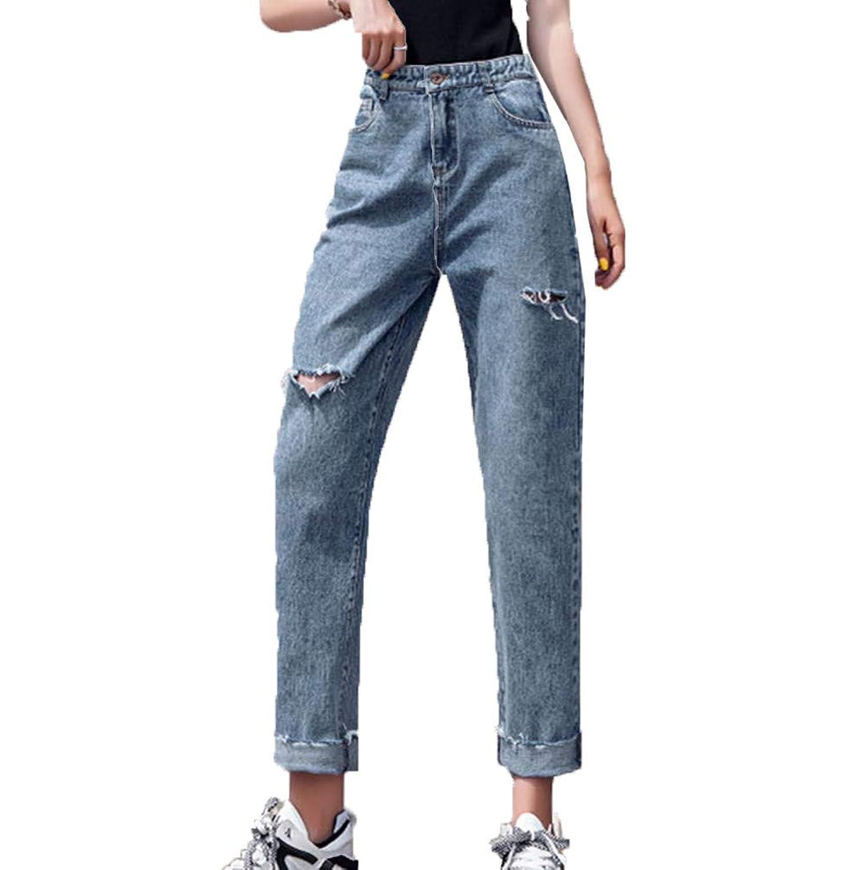 [美しいです]チノパン ワイド ズボン レディース デニムパンツ ハイウェスト パンツ ダメージジーンズ