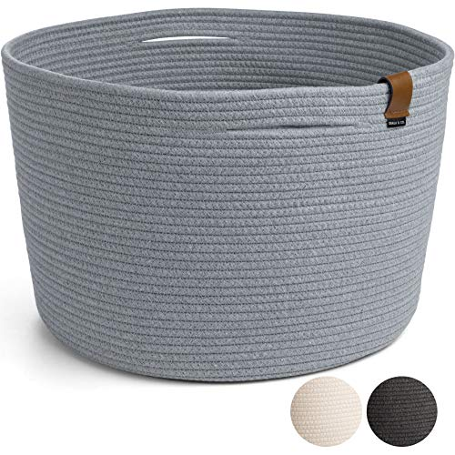DENJA & CO Woven Cotton Rope Blanket Basket for Living Room - Extra Large (21' W x 13.8' H) - Gray