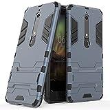 Nokia 6.1 Case, Nokia 6 2018 Case, [Not Suitable for Nokia 6] MAIKEZI Dual Layer Armor Hard Slim Hybrid Kickstand Phone Cover Case for Nokia 6 2018 (Navy Blue Kickstand Case)