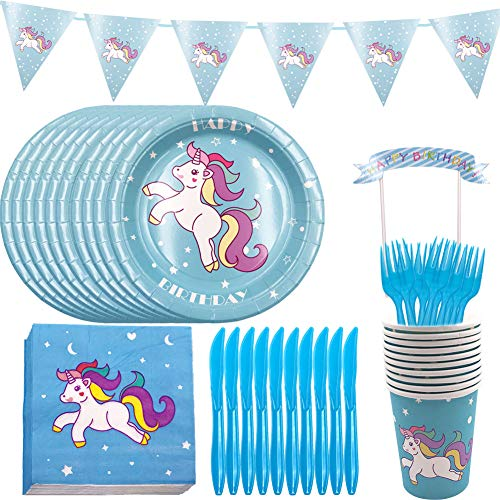 YUESEN Kit Cumpleaños Unicornio para niñas Platos Desechables Vasos Pajitas Servilletas Mantel...
