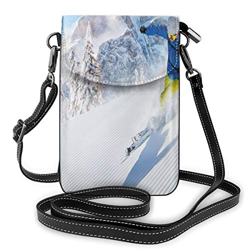 Women Mini Purse Crossbody of Cell Phone,Skier Skiing Downhill In High Mountains Extreme Winter Sports Hobbies Activity