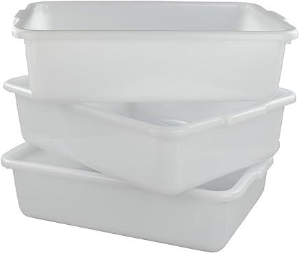 "Morcte Commercial Bus Box, Plastic Bus Tub/Wash Basin, 15.55"" x 11.41"" x 4.72"", Set of 3 (White)"