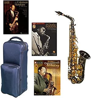 """Virtuoso Series Professional Black Nickel Alto Saxophone Deluxe w/3 Pack of Legends books: Best of Charlie Parker, Julian """"Cannonball"""" Adderley & Coleman Hawkins Collection"""