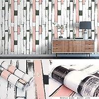 壁紙シール カッティングシート,地中海ストライプ自己粘着性木目調壁紙レトロノスタルジックな木の板リビングルーム家の装飾ウォールステッカー-f21_45cm*10m