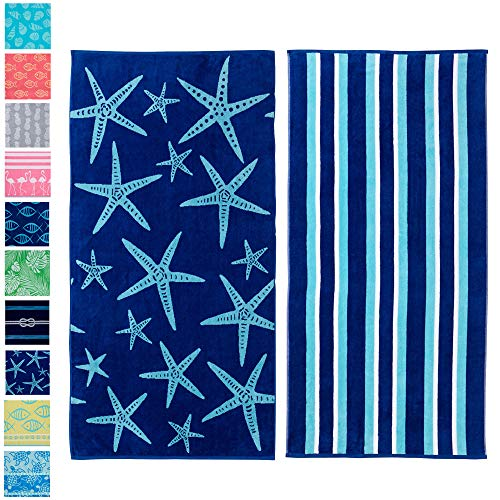 Great Bay Home 2 Pack Plush Maui Star Fish & Stripes Print Beach Towels. 100% Cotton Nautical  Beach Towels, Large Pool Towels. Maui...