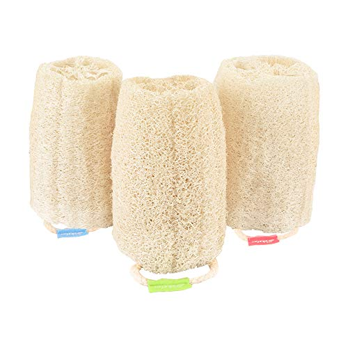 3 Pack Farm natural organic eco friendly exfoliating loofah sponge Skin cleansing skin exfoliation Bathing and Back caring spa body shower Puff Scrubber Lofa Loofa Luffa Loffa Daily skin care