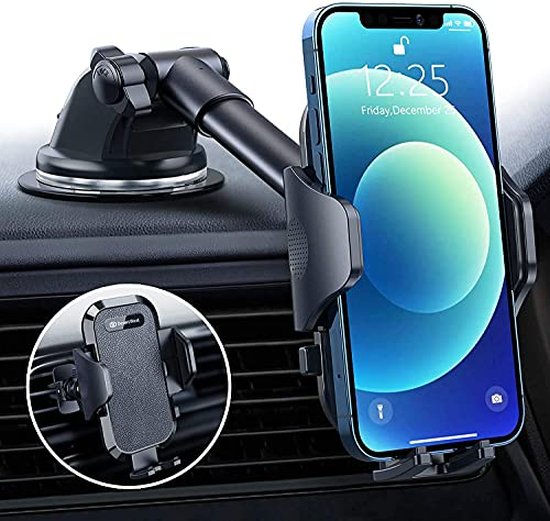 DesertWest Most Versatile Car Phone Holder [Military Off-Road Grade] with Latest Version Steel Air Vent Holder for Windscreen Dash Vent for iPhone 12/11/SE/XR/8/7/6, Galaxy S20+ A71 Note20 S21 S20 etc