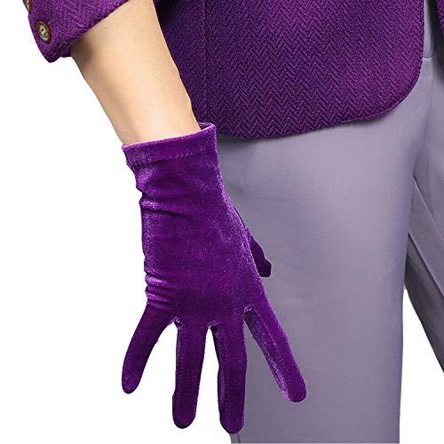DooWay Ladies Elegant Velvet Gloves Evening Dress Party Elastic Stretchy Women Spectial Occastion Finger Gloves One Size (Purple)
