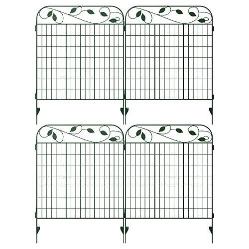 "Amagabeli Metal Garden Fence Border 44""x 36""x 4Pack Heavy Duty Tall Rustproof Green Decorative Garden Fencing Panels Animal Barrier Iron Edge Garden Gates Outdoor for Landscape Folding Fence Gate"