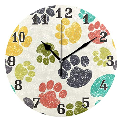 Colorful Cat Dog Paw Print Round Acrylic Wall Clock, Silent Non Ticking Art Painting Clock for Kids...