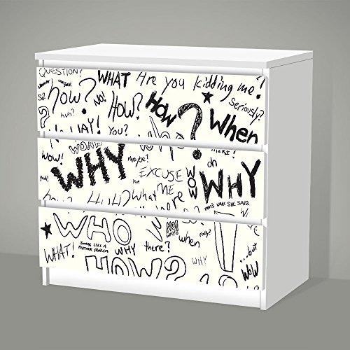 Aufkleber für IKEA Malm - 3 Schubladen -- Question -- Sticker Klebefolie Möbel Tattoo