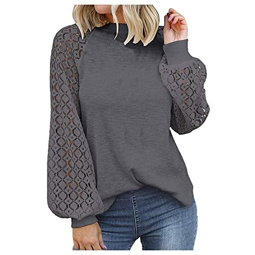 WAo Las mujeres de moda blusas casuales sueltas Tops de color sólido camisa jersey hueco de encaje manga larga cuello redondo camisas, gris oscuro, XL
